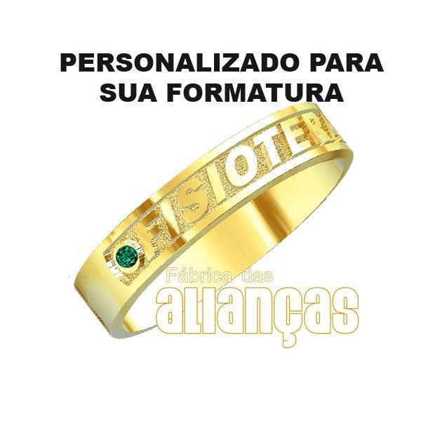 b5a4c73ed53ea Anel de Formatura de Fisioterapia em Ouro Amarelo 18k 0,750 - fa-1003-n    Fábrica das Alianças
