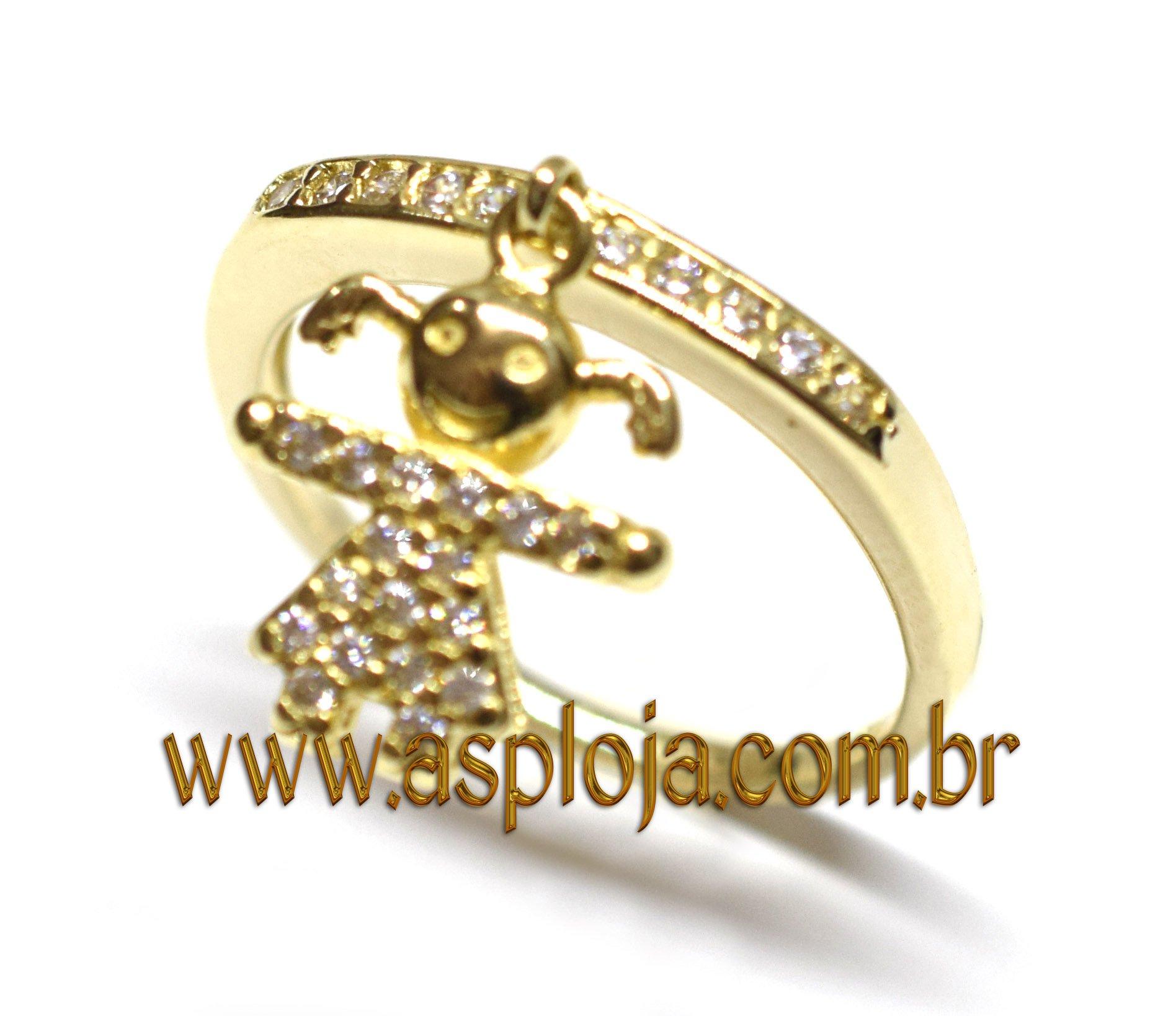 c325109280c26 Anel Meia Aliança Ouro 18K Com Berloque Menina Cravejada 27 Diamantes 1,0  Ponto - A.S.P LOJA