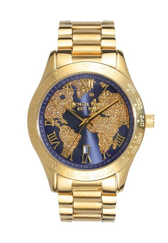 Relógio Michael Kors Feminino Layton Cristal Dourado MK6243-4AI Mapa Mundi  - A.S.P LOJA 510881f248