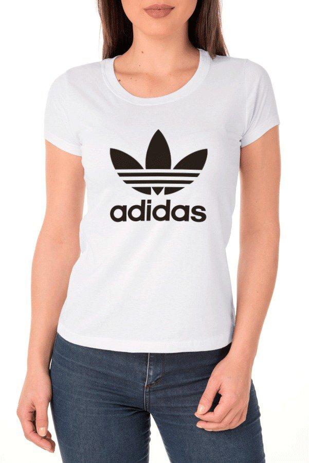 be97e5cd5e Camiseta Adidas Feminina 100% Algodão - Branca