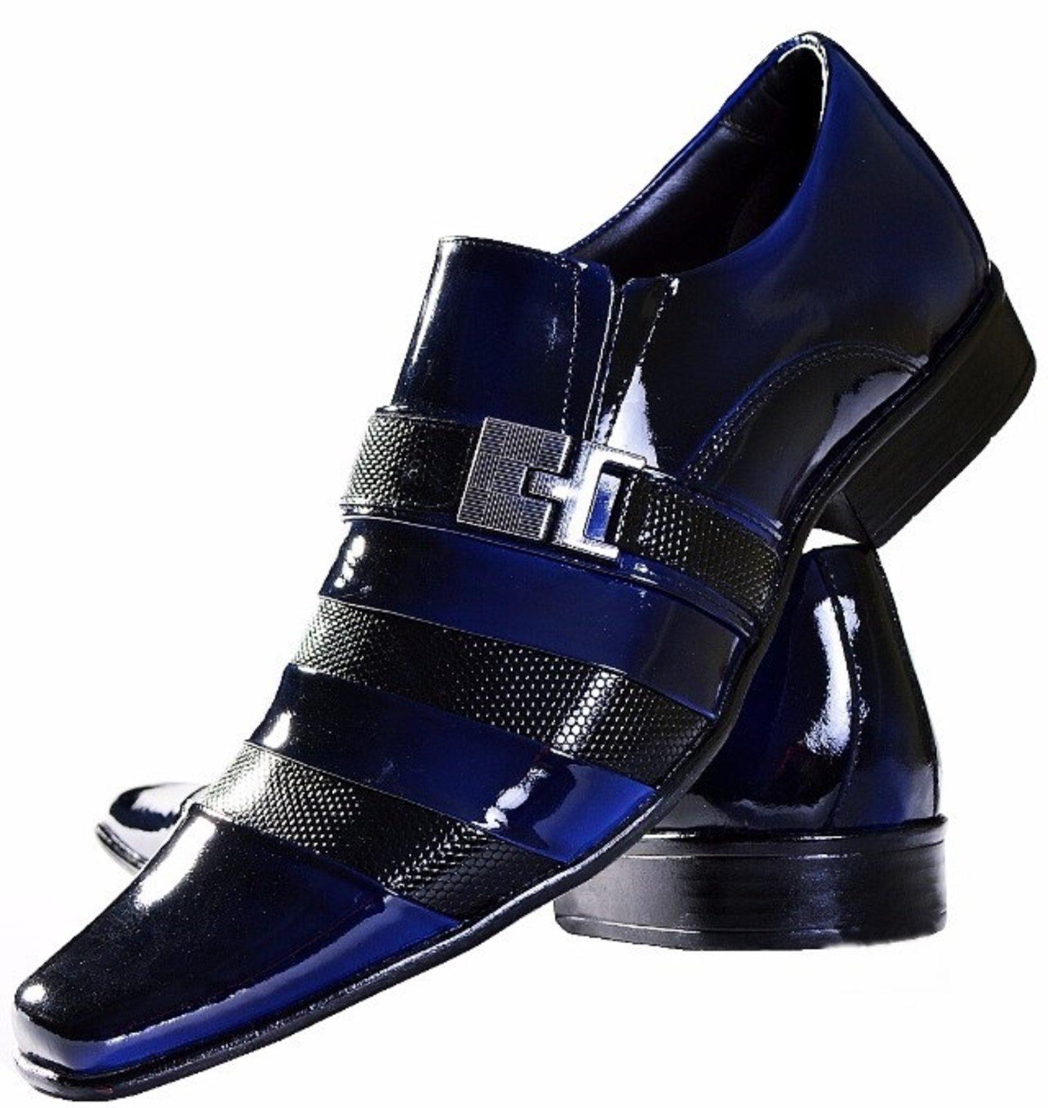 908c50ff9 Sapato Social De Verniz Azul Com Preto Gofer | BOOTSHOES