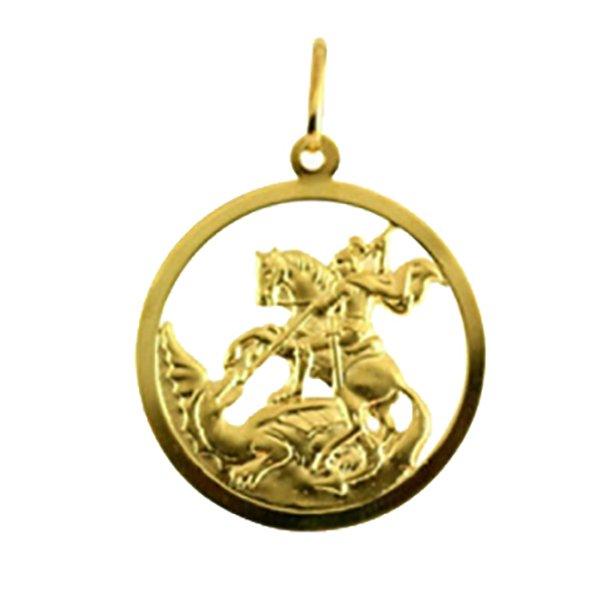 Pingente em Ouro 18K Medalha de São Jorge redonda   FABRICA DO OURO 408ac0760a