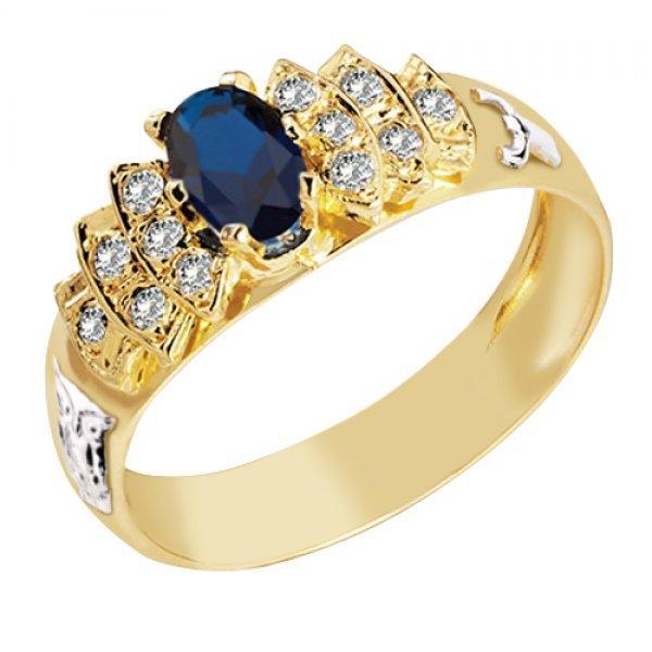 Anel de Formatura em Ouro 18k com Diamantes e Pedra Natural - 1365AF ... 297ddd9334