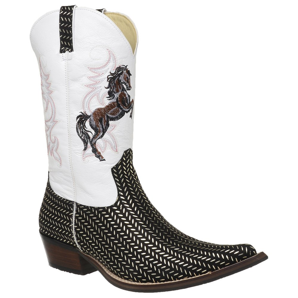 5f09f59c09dee Bota Country Masculina Bico Fino Texana Platinado e Branco - JMCOUNTRY