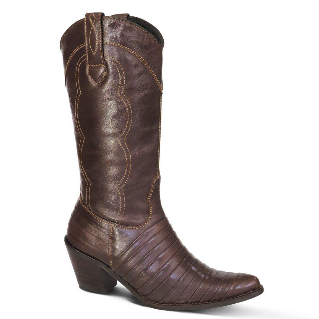 04b5361b700f6 Bota Country Texana Feminina Casco de Tatu Couro Mustang Café - JMCOUNTRY