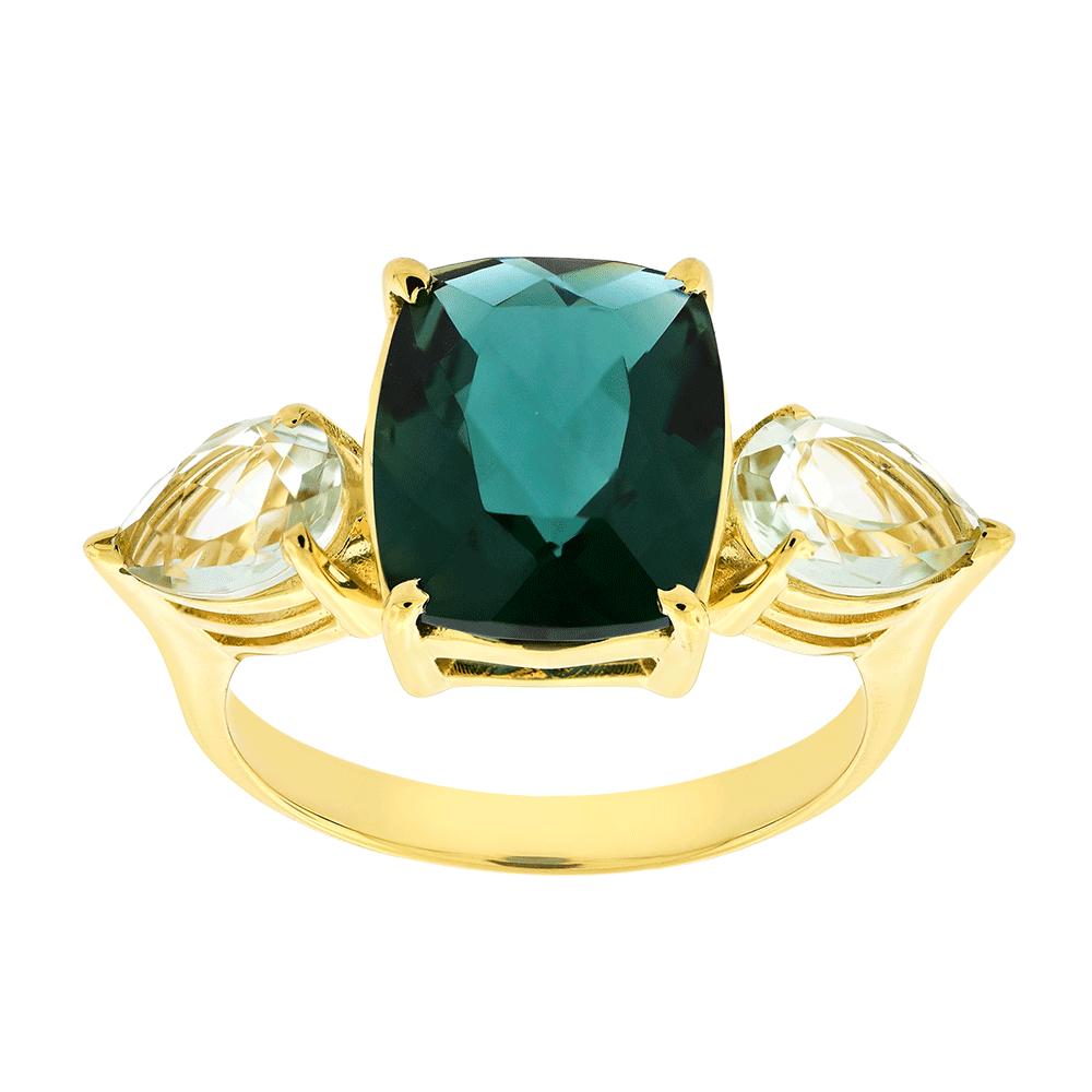 87e54ed8f Anel de Ouro 18K Pedras de Topázio Verde e Prasiolitas - MICHELETTI JOIAS