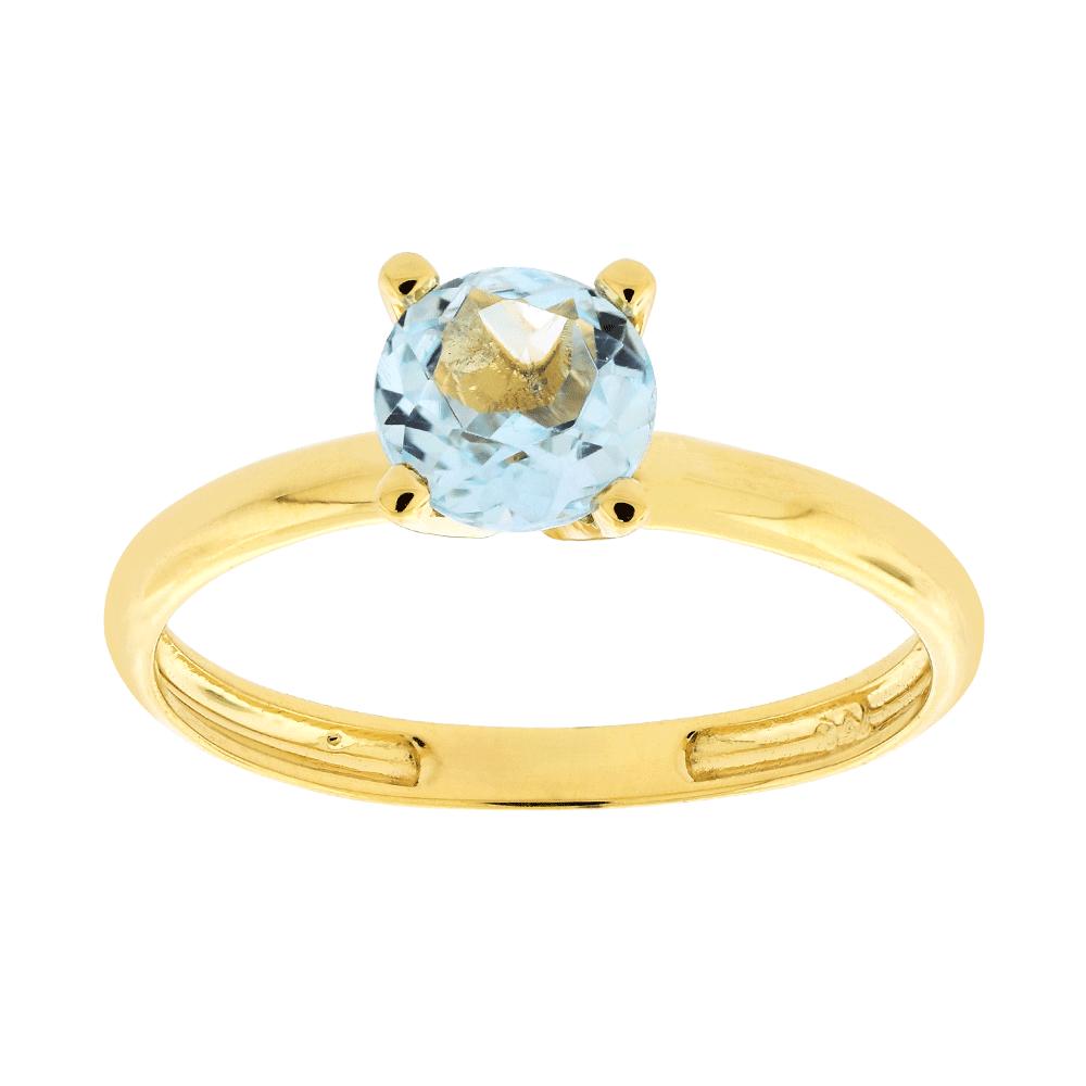 6da72e935 Anel Solitário Ouro 18K Pedra de Topázio Sky - MICHELETTI JOIAS