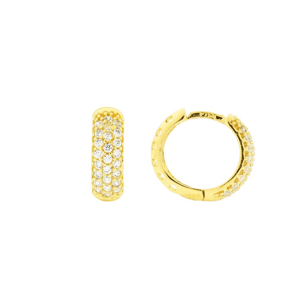 Brinco de Argola Pequeno com Pedras Ouro 18K - MICHELETTI JOIAS 5a9358b729