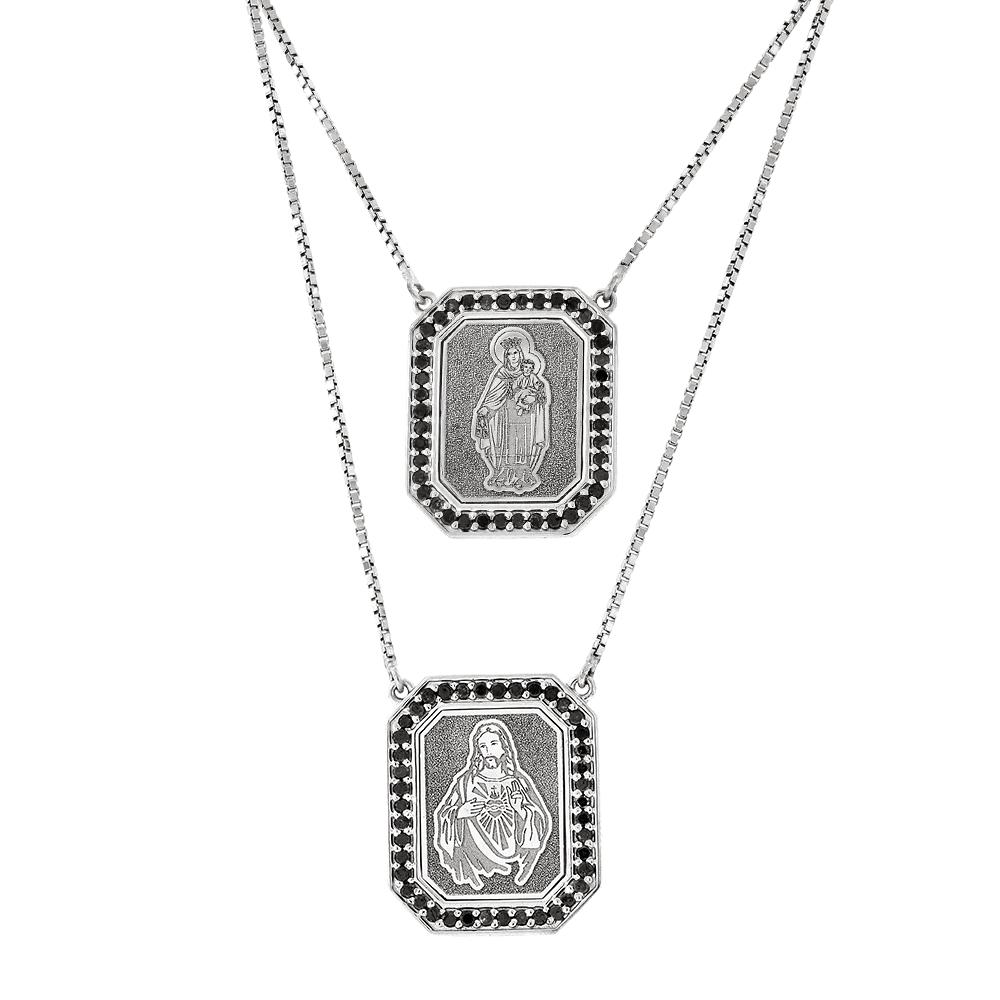 Escapulário de Ouro Branco 18K com Diamantes Negros - MICHELETTI JOIAS f9383fc028