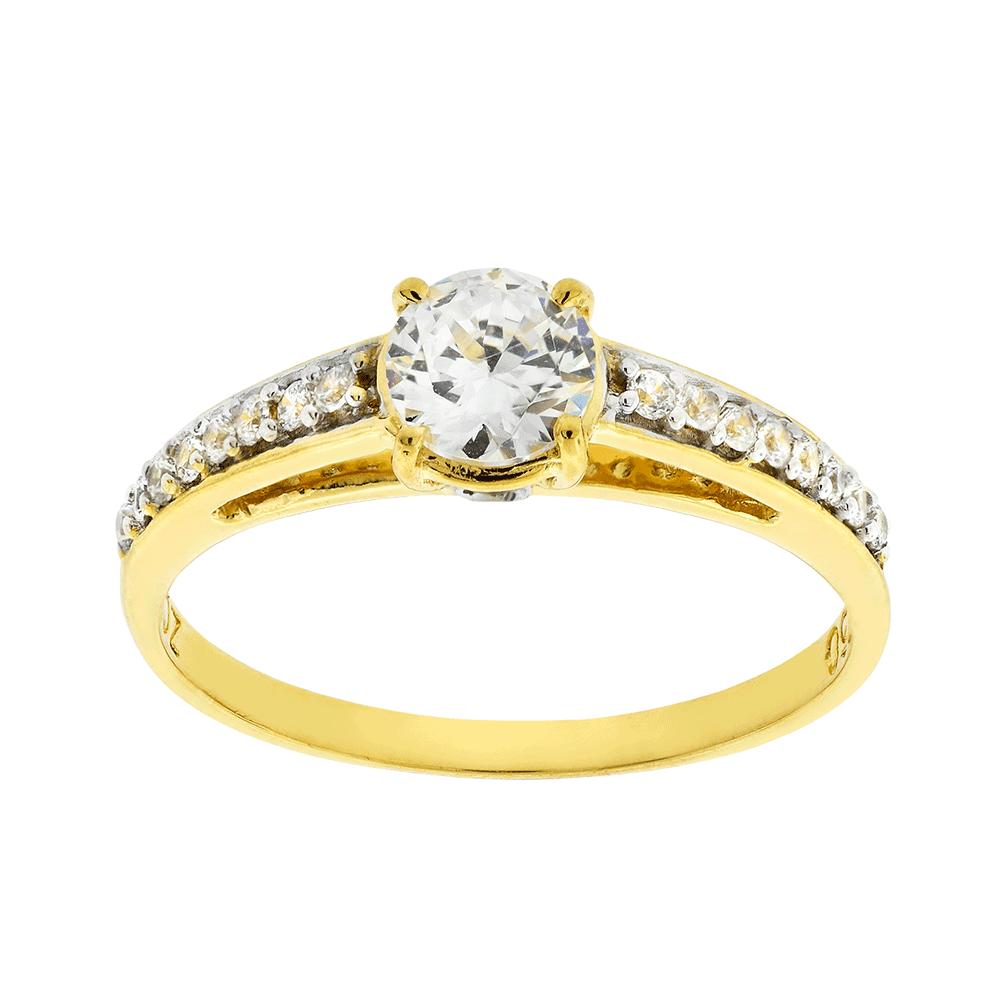 Francine Jóias Anel Solitário Em Ouro Amarelo 18k Com Diamantes Brüner 25b2960b6b
