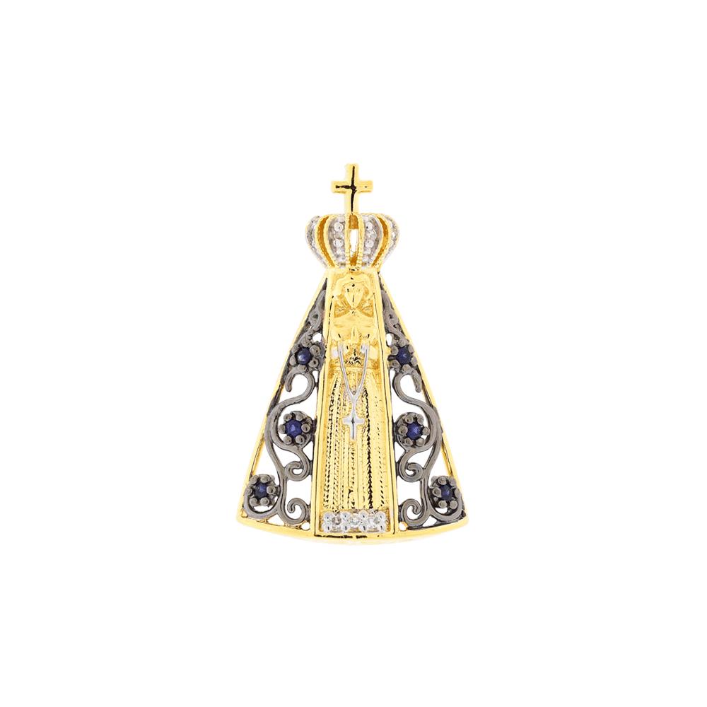 16c06fdaca81e Pingente Nossa Senhora Aparecida de Ouro 18K Vazada com Pedras - MICHELETTI  JOIAS