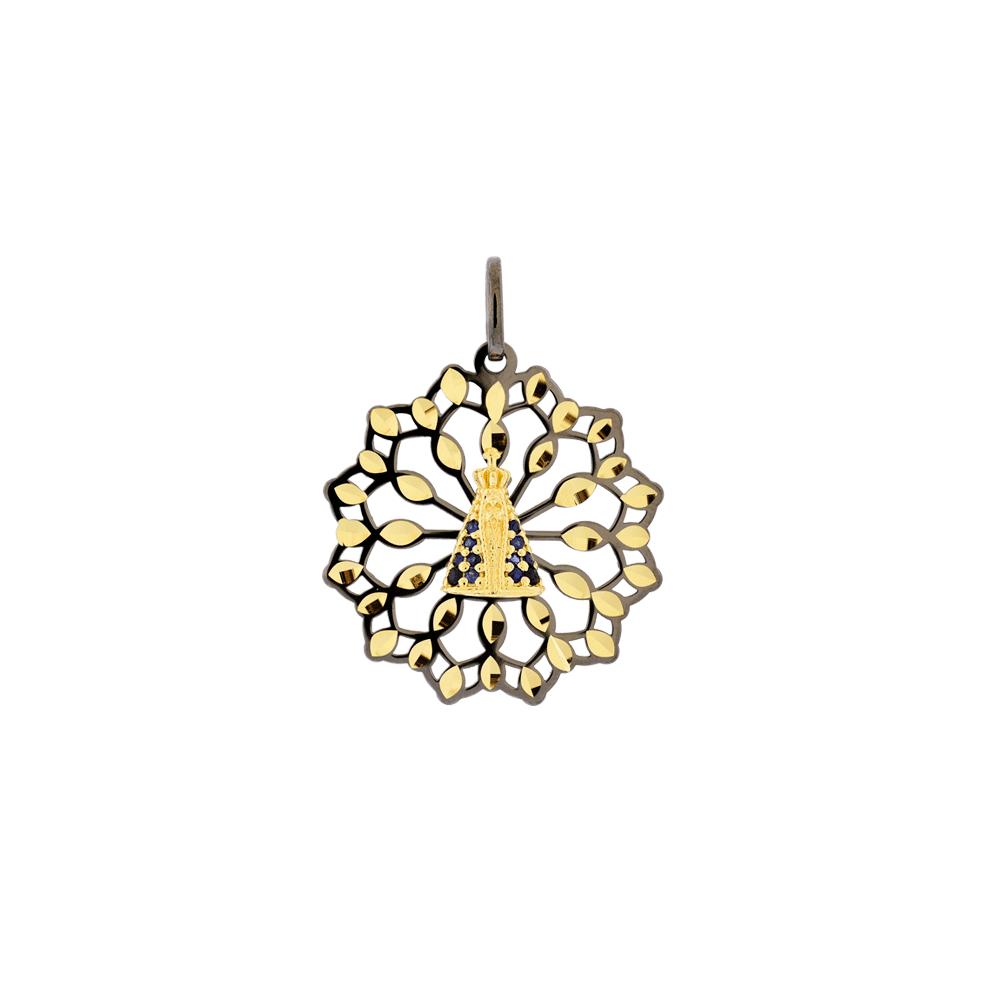 1c3838d7feb89 Medalha de Nossa Senhora Aparecida Vazada em Ouro 18K com Ródio Negro - MICHELETTI  JOIAS