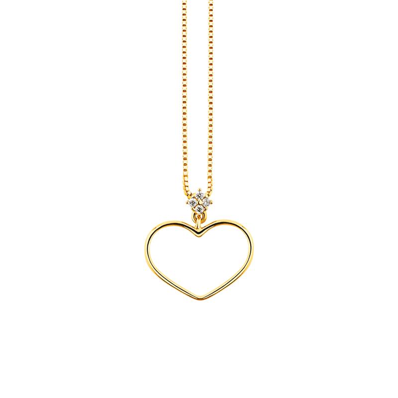 Gargantilha de Ouro 18K Coração com Diamantes - MICHELETTI JOIAS 83f52cd1df