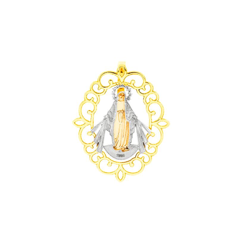bad01841aec1d Pingente de Ouro 18K Nossa Senhora das Graças Ouro Branco e Amarelo -  MICHELETTI JOIAS