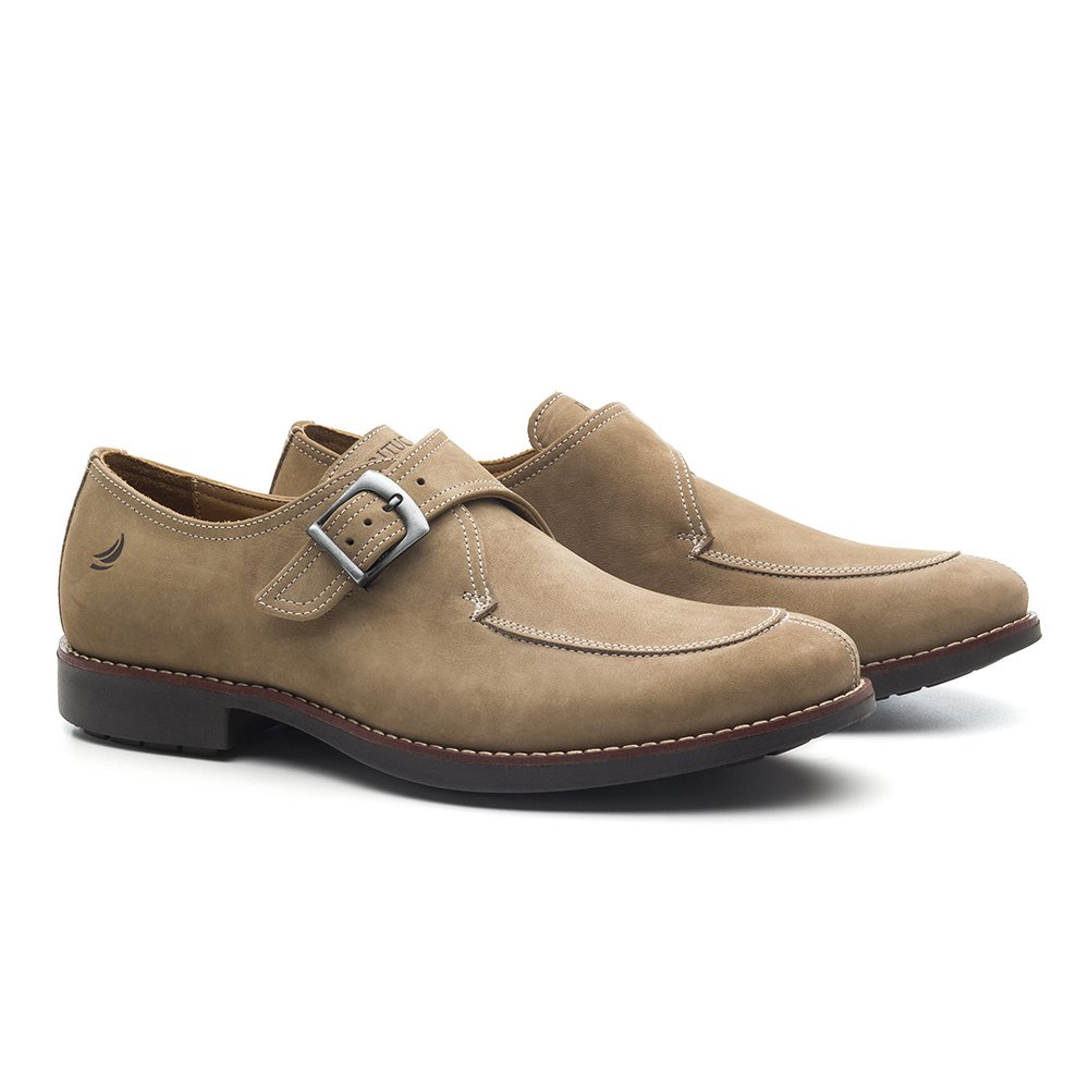 661077a00d Sapato Masculino Monk Strap Bege Wedge