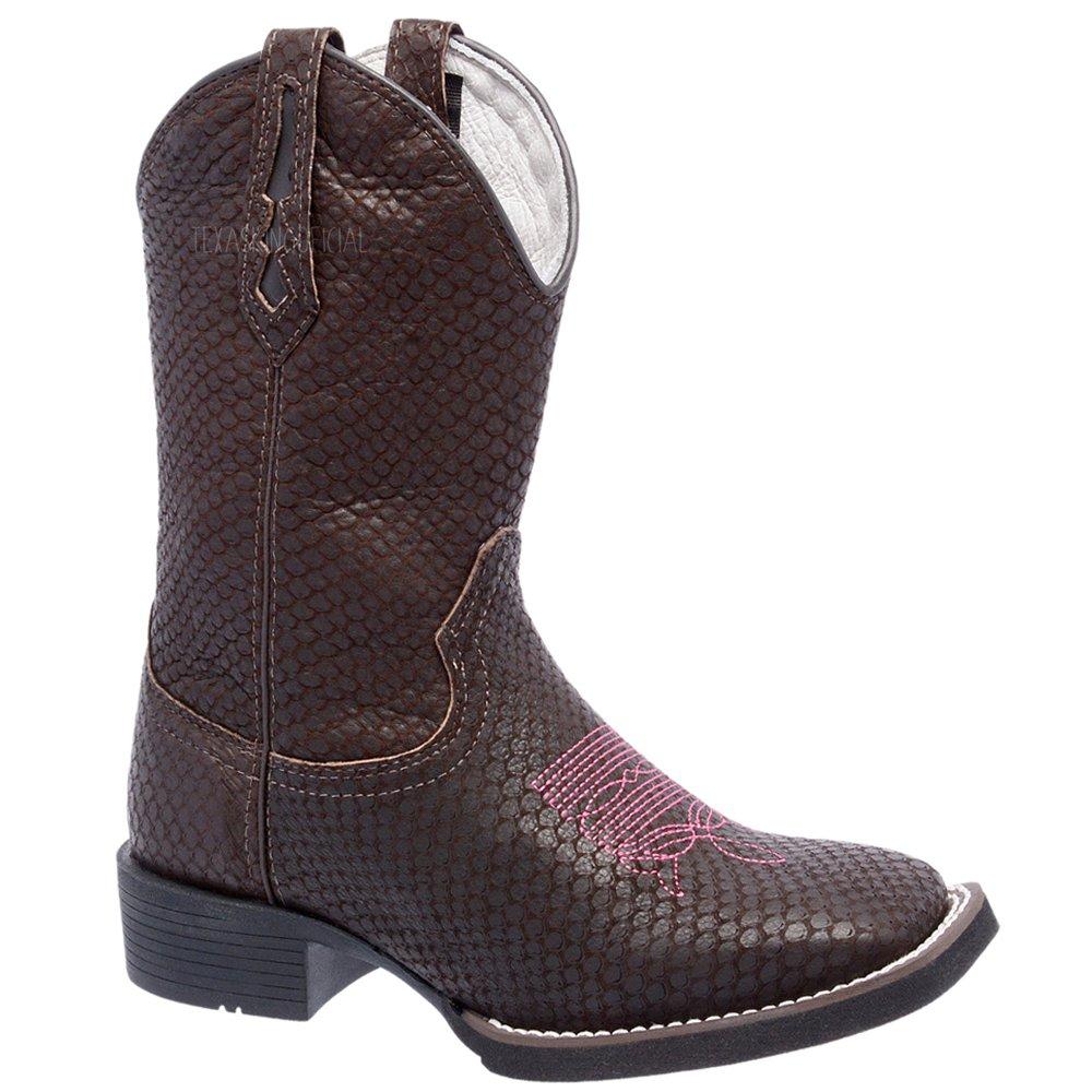 616a776822 Bota texana feminina em couro legítimo chapado marrom com rosa texasking  jpg 1000x1000 Botas texanas feminina