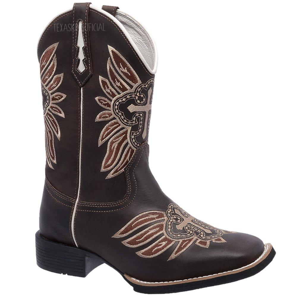 4fd9699cec408 Bota Texana Masculina em Couro Legítimo Cruz Bico Quadrado TexasKing ...