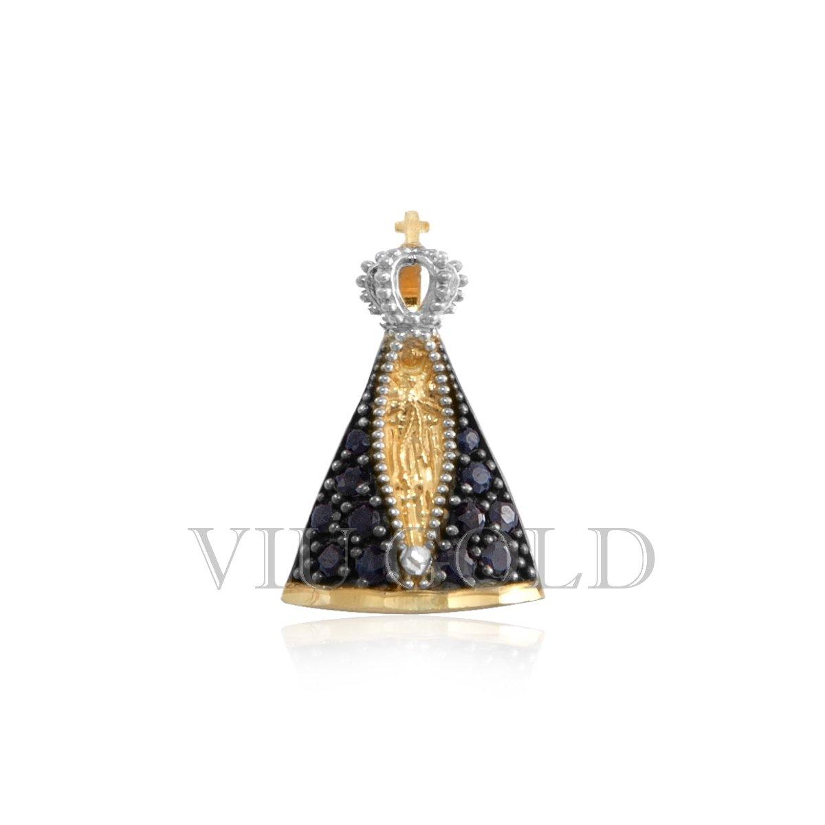 f34e1289039fc Pingente de Nossa Senhora Aparecida em ouro 18k com Safira Azul ...