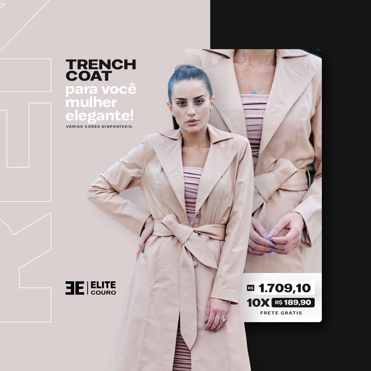 Trench Coat Botão Nude Feminino