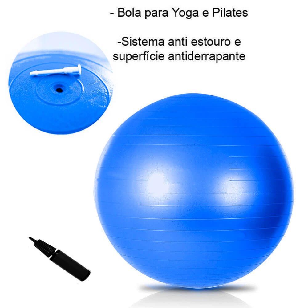 Kit Bola Suíça 65cm + Anel de Pilates + Bola de Peso 3kg