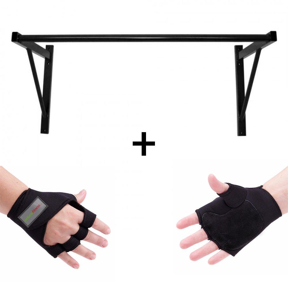 Kit Barra Fixa de Parede + Luva Natural Fitness