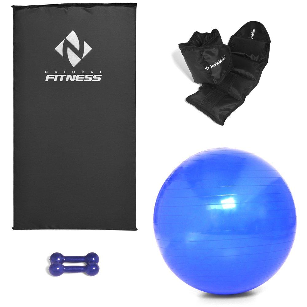 Kit Colchonete Espuma 20mm + Par Halter 1kg + Par Caneleira 1kg + Bola Suíça Pilates 65cm