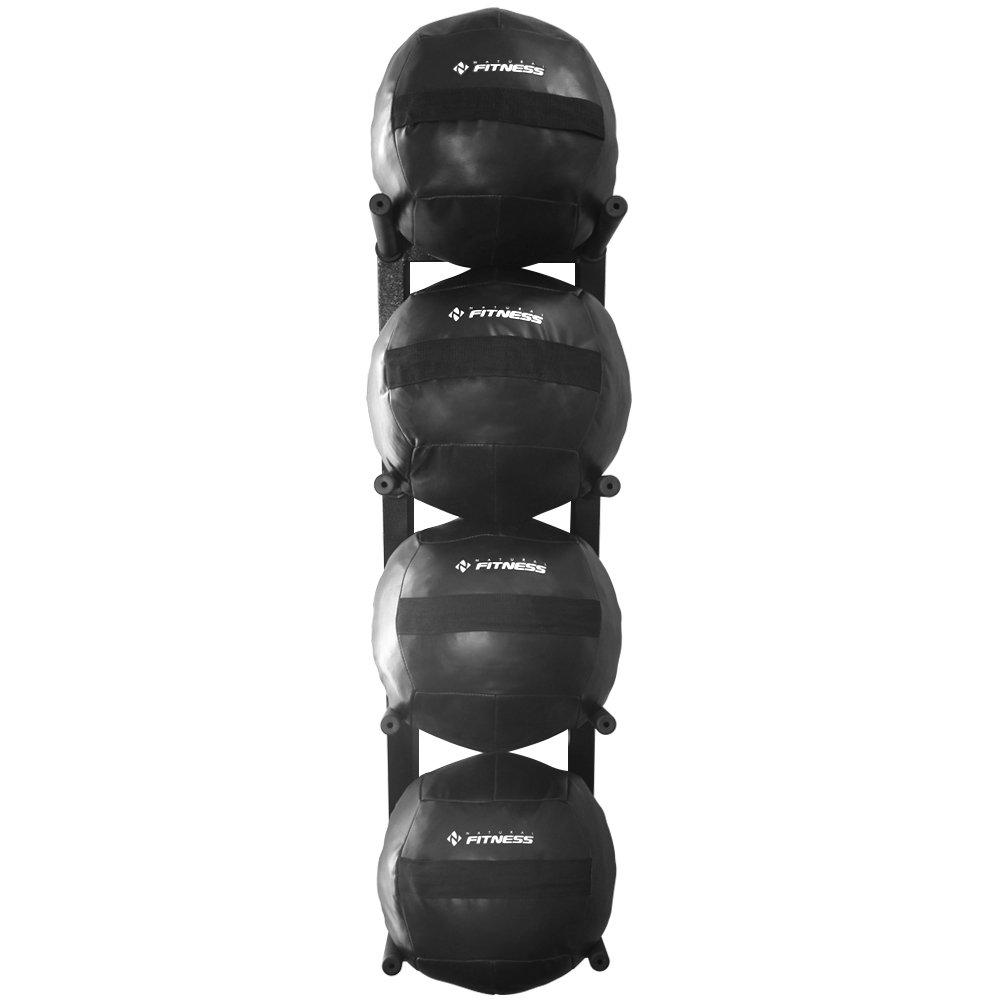 Suporte + Kit 4 Wall Balls 10kg Para Academia Funcional