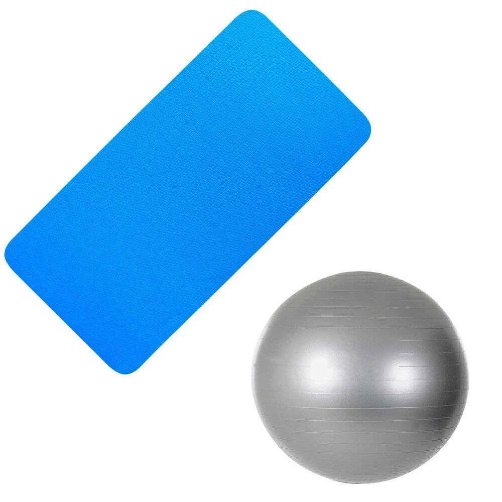 Kit Bola Suiça 75 Cm + Colchonete Academia Azul