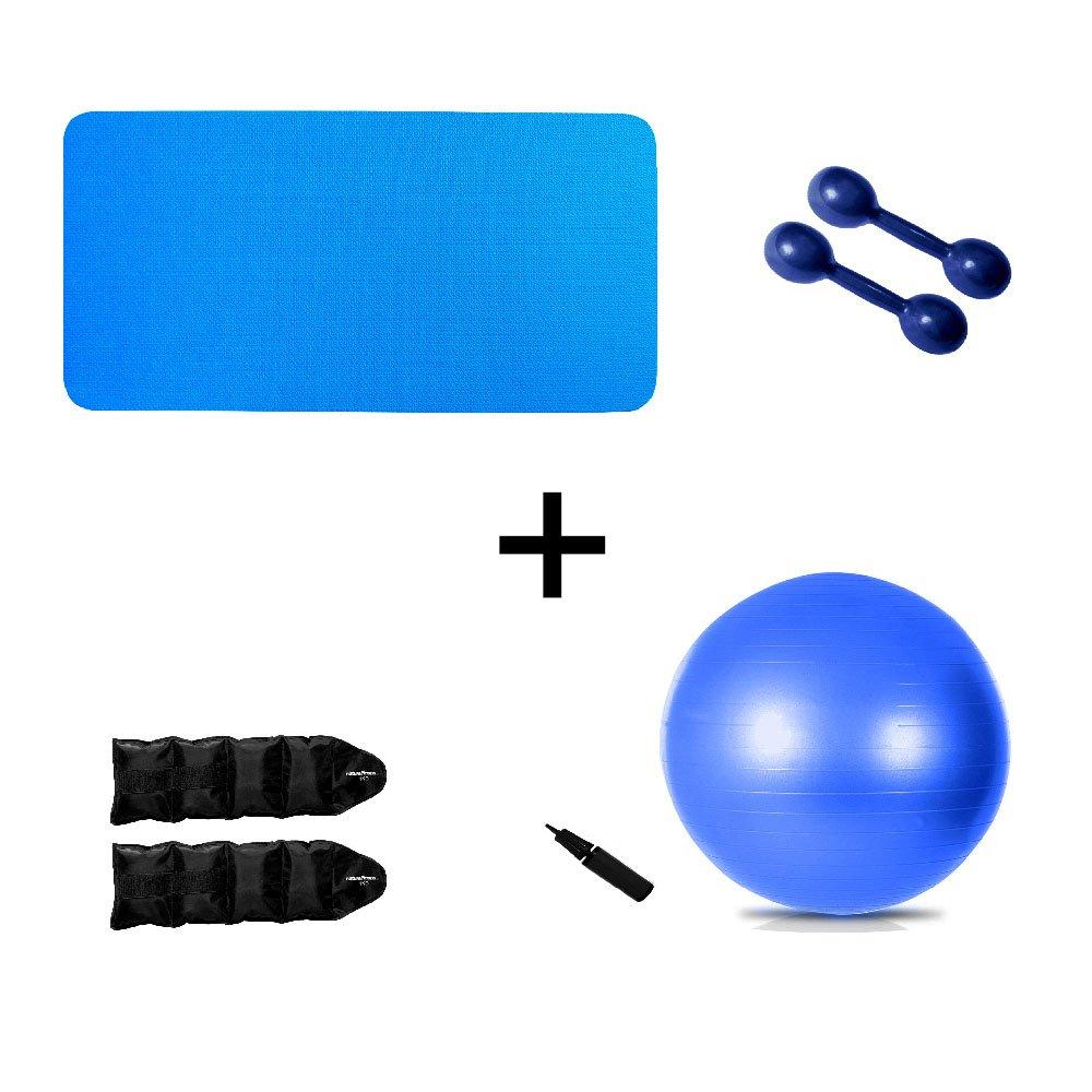 Kit Colchonete Azul + Par Halter 1kg + Par Caneleira 1kg + Bola Suíça Pilates 65cm