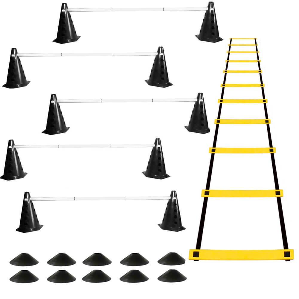 Kit 10 Cones com 5 Barreiras + Escada de Agilidade + 10 Chapéu Chinês