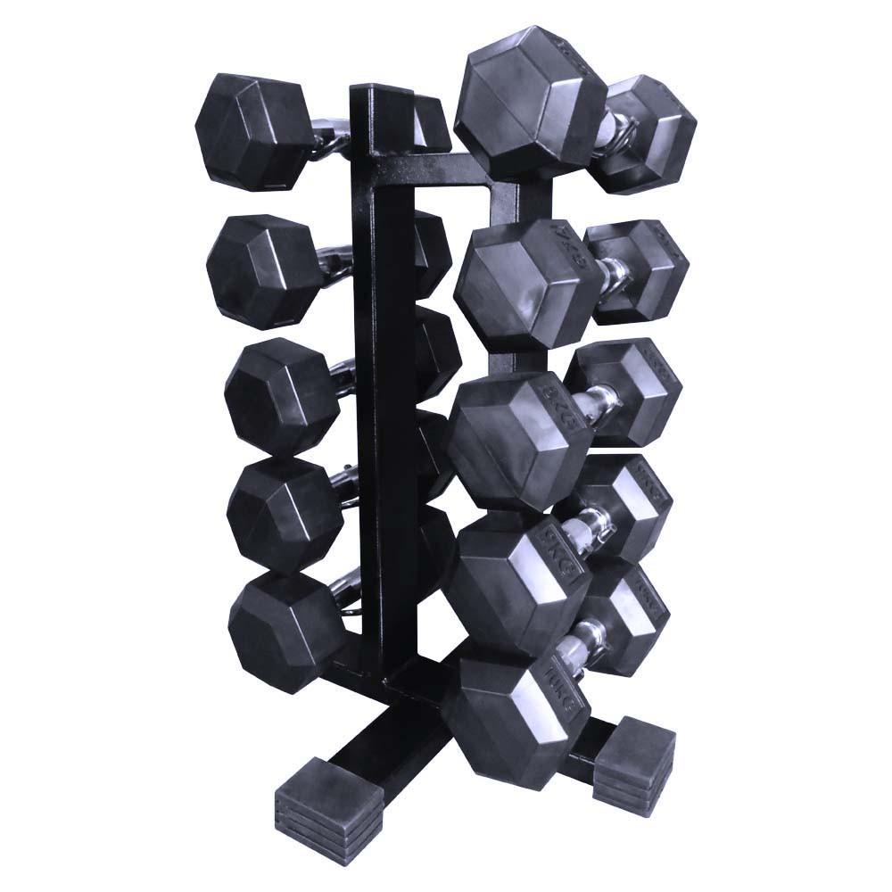 Kit Suporte Torre 10 + Dumbells Sextavados 6kg á 10kg