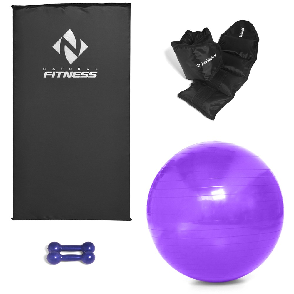 Kit Colchonete Espuma 20mm + Par Halter 1kg + Par Caneleira 1kg + Bola Suíça Pilates 55cm