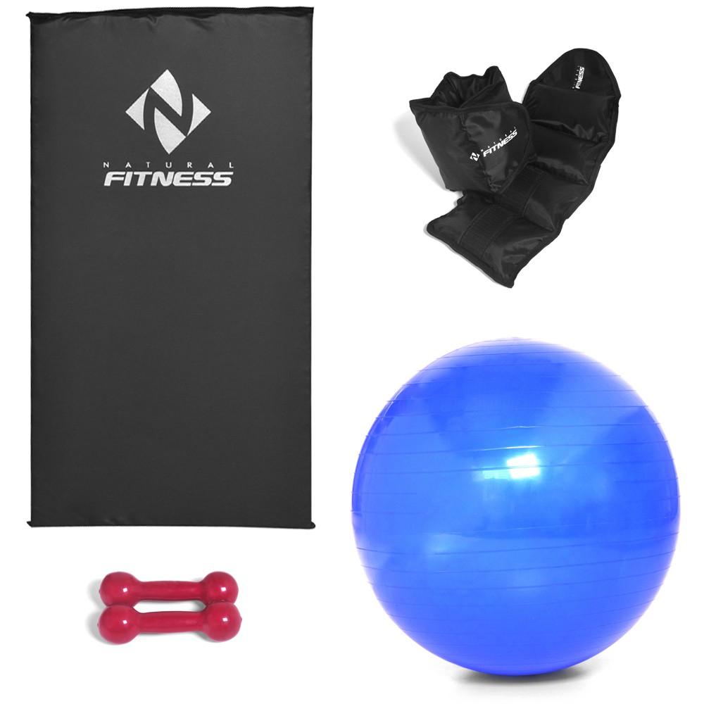 Kit Colchonete Espuma 20mm + Par Halter 2kg + Par Caneleira 2kg + Bola Suíça Pilates 65cm