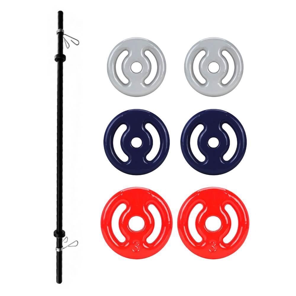 Kit Body Pump - Barra + 2 anilhas emborrachadas de 3, 2 e 1kg total 12kg