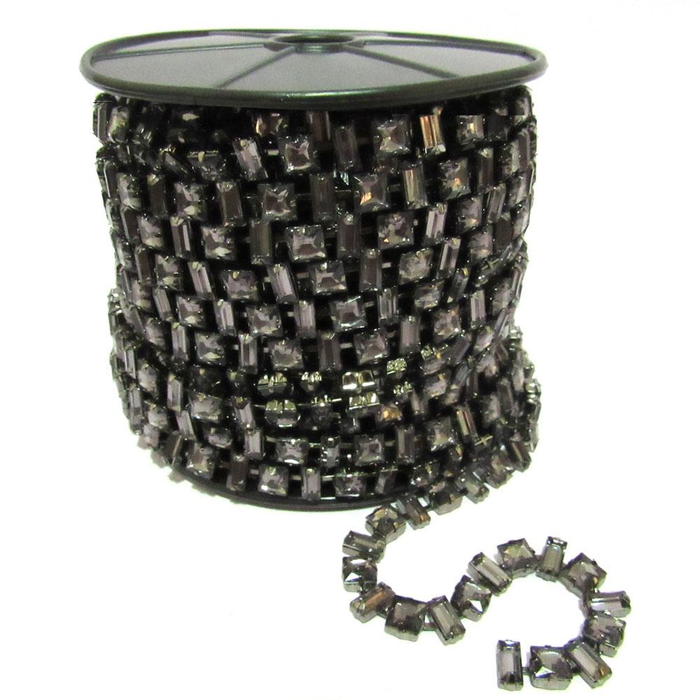 Corrente Monet - Pedra Black Diamond, Banho Grafit... - BMSTRASS