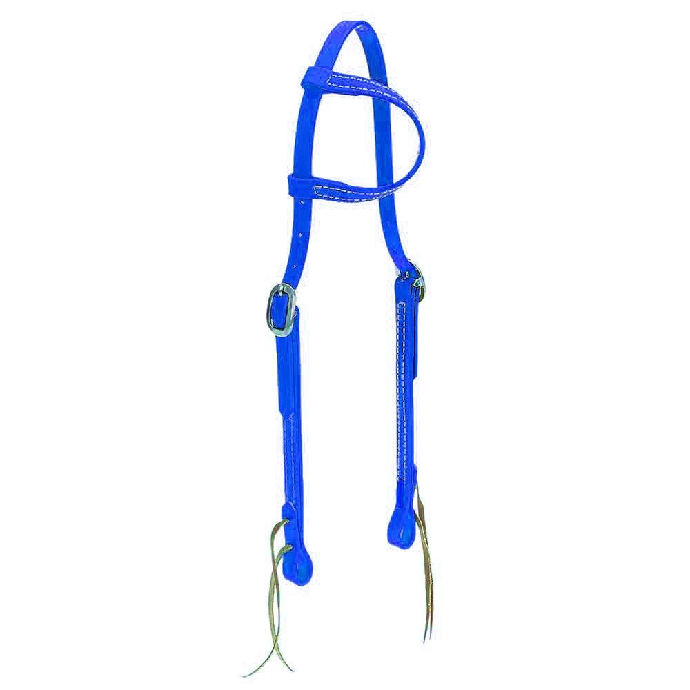 Cabeçada em Borracha 1 orelha Azul Royal - Top Equine