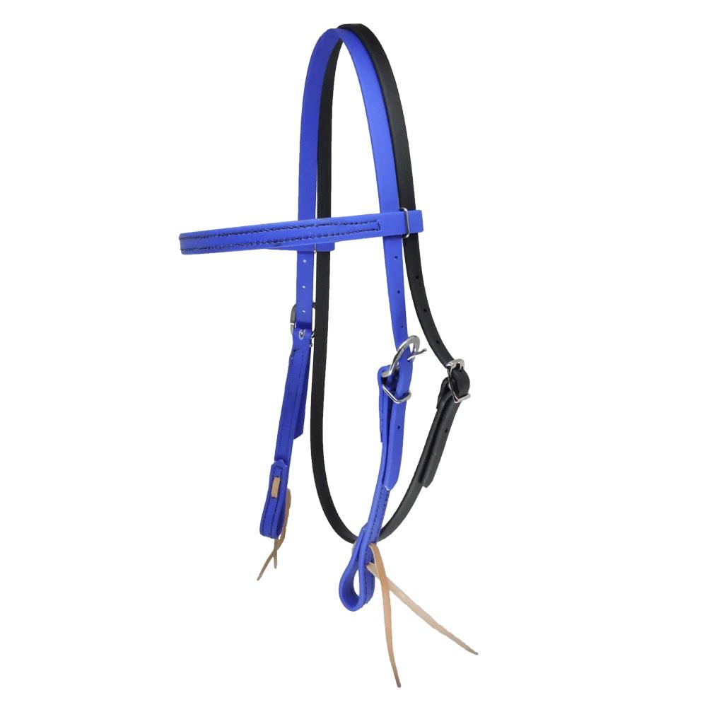 Cabeçada em Borracha com Testeira e Afogador Azul Royal - Top Equine