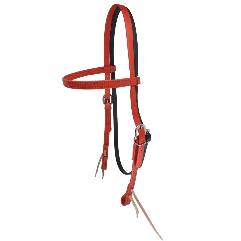 Cabeçada em Borracha com Testeira e Afogador Vermelha - Top Equine