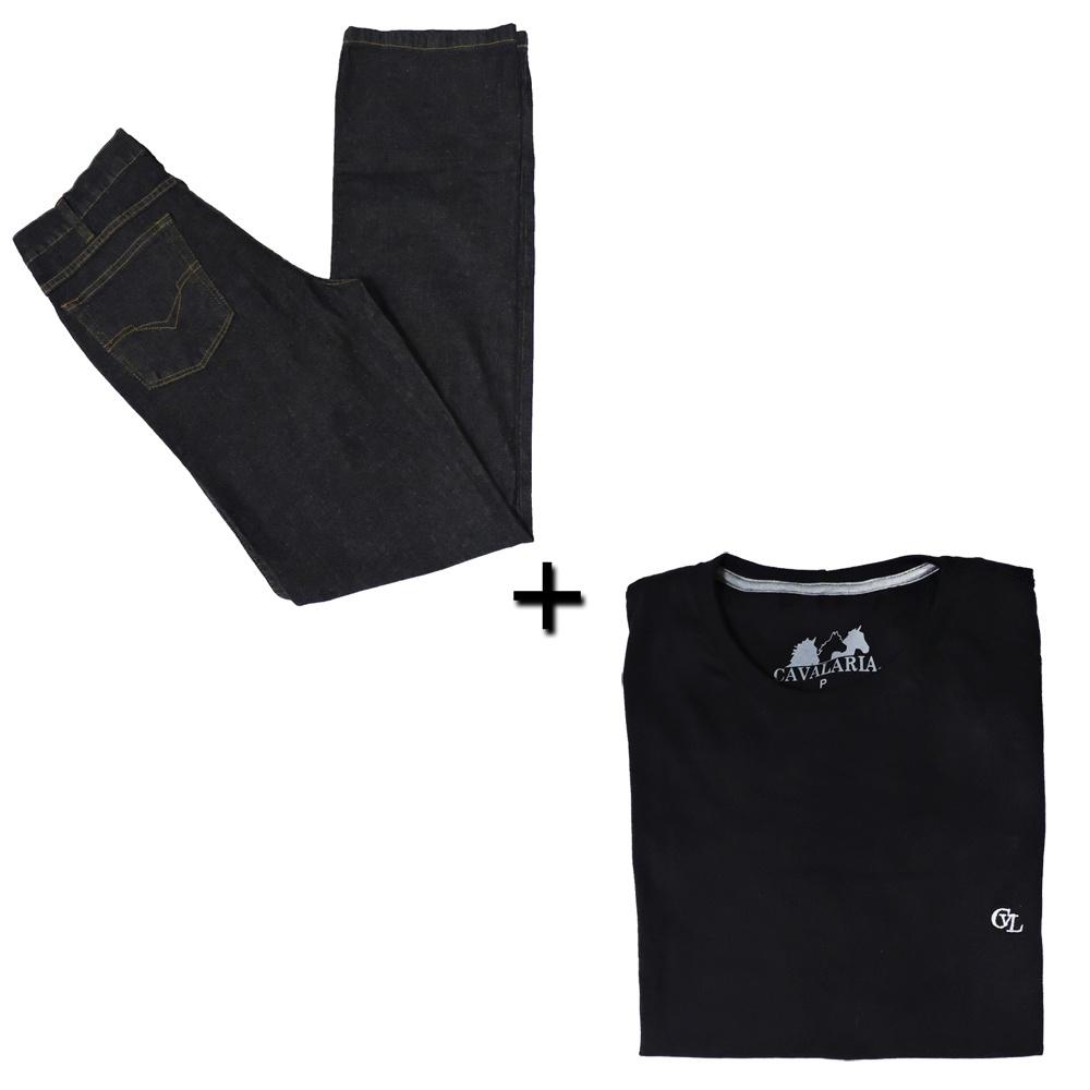 Kit Camiseta Cavalaria + Calça Jeans Classic Masculina