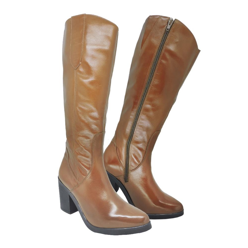 Bota Montaria Feminina Couro Legítimo Caramelo - Encinas Leather 90009