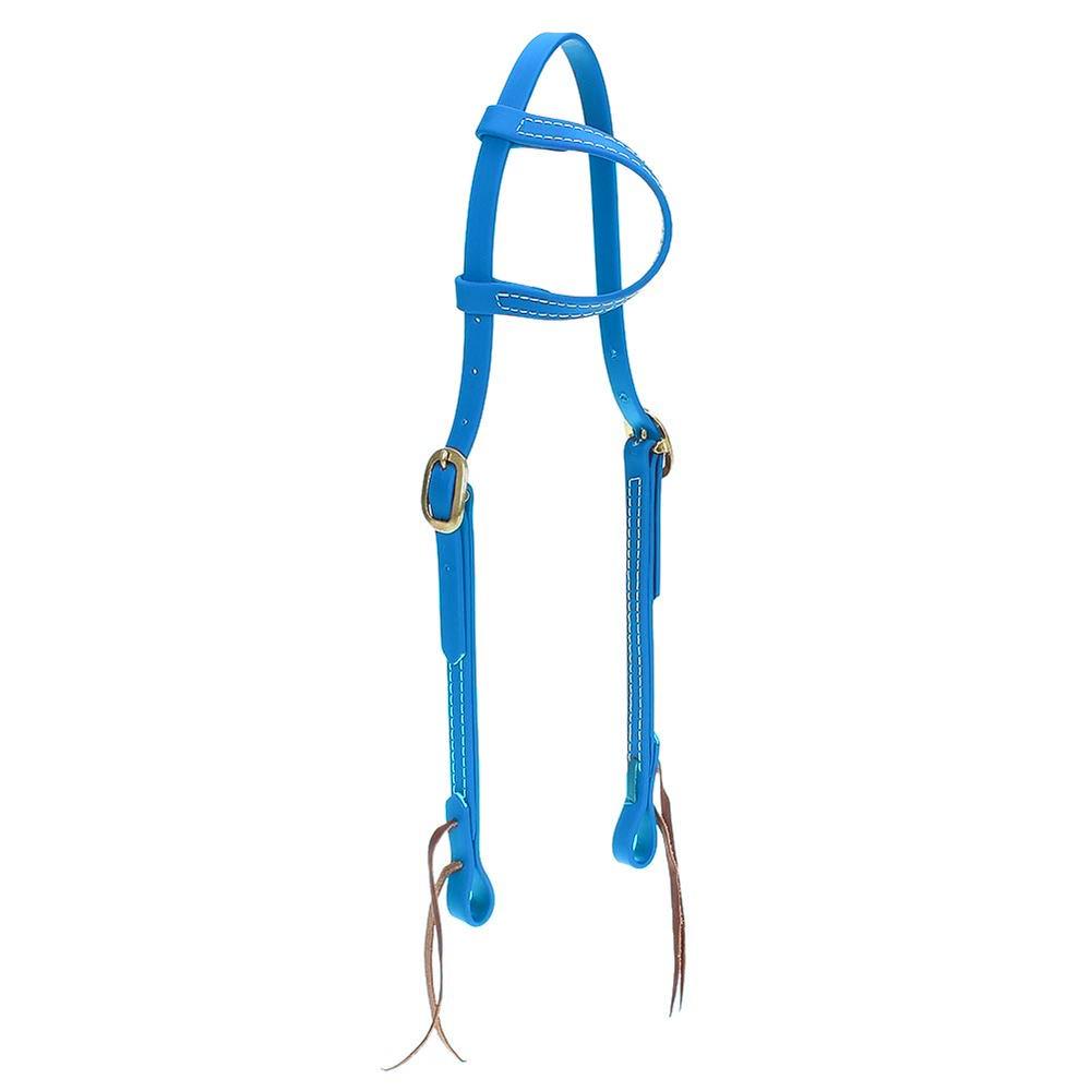 Cabeçada em Borracha 1 orelha Azul Turquesa - Top Equine
