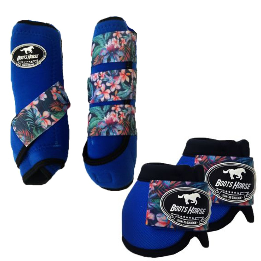 Conjunto Caneleira e Cloche Azul/Flores - Boots Horse