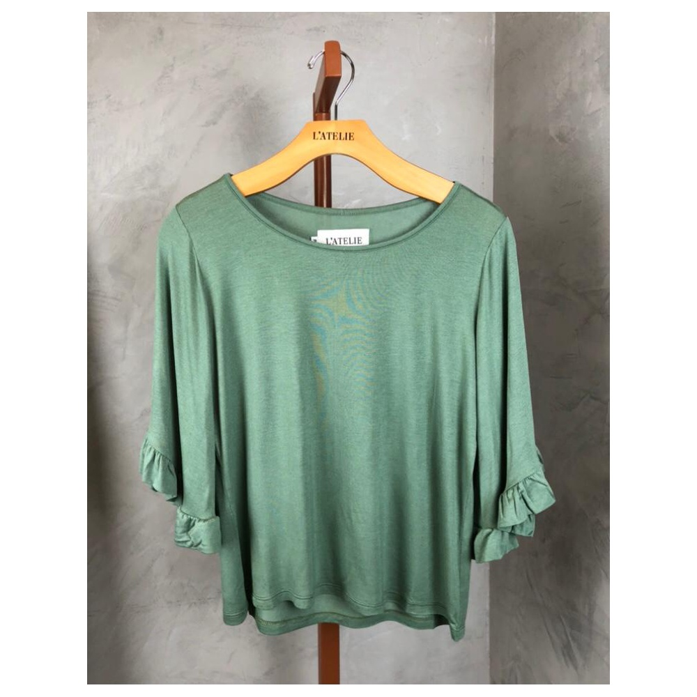 Blusa manga babado verde