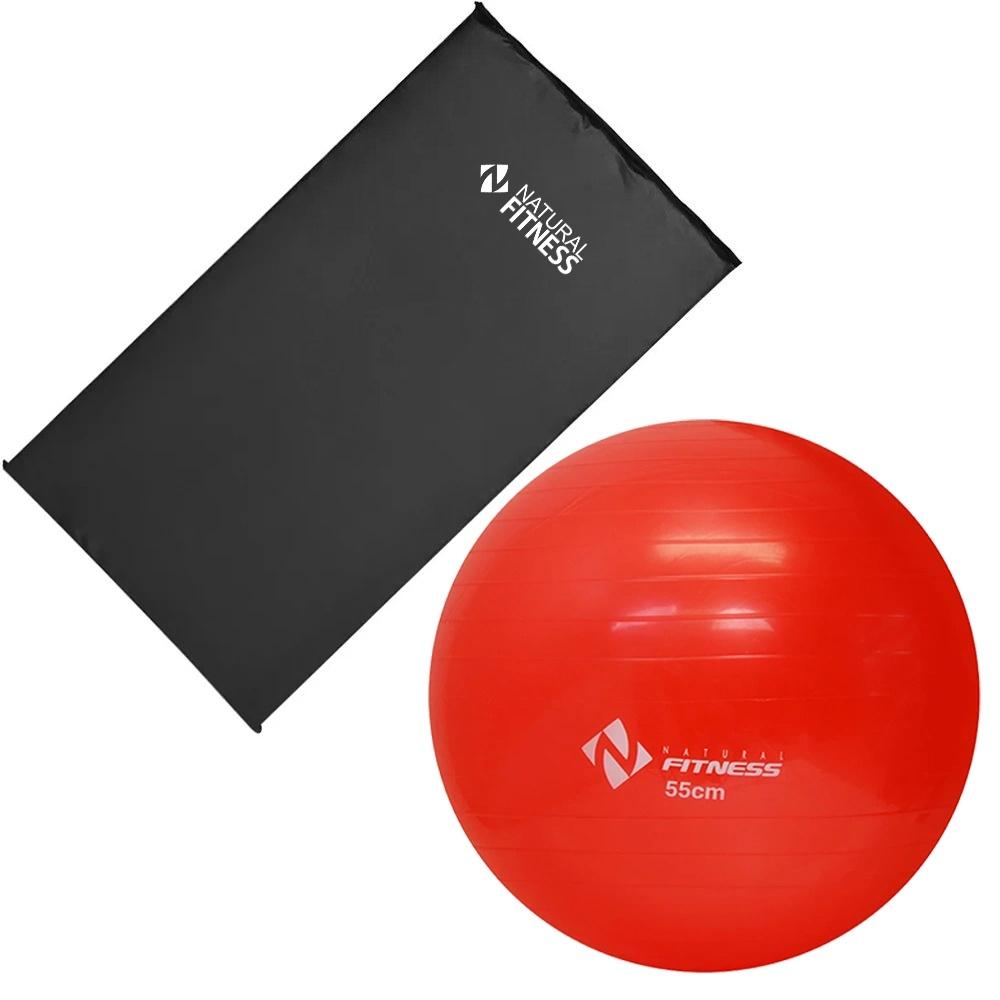 Kit Colchonete Academia+ Bola Suíça Pilates e Ginástica 55 cm