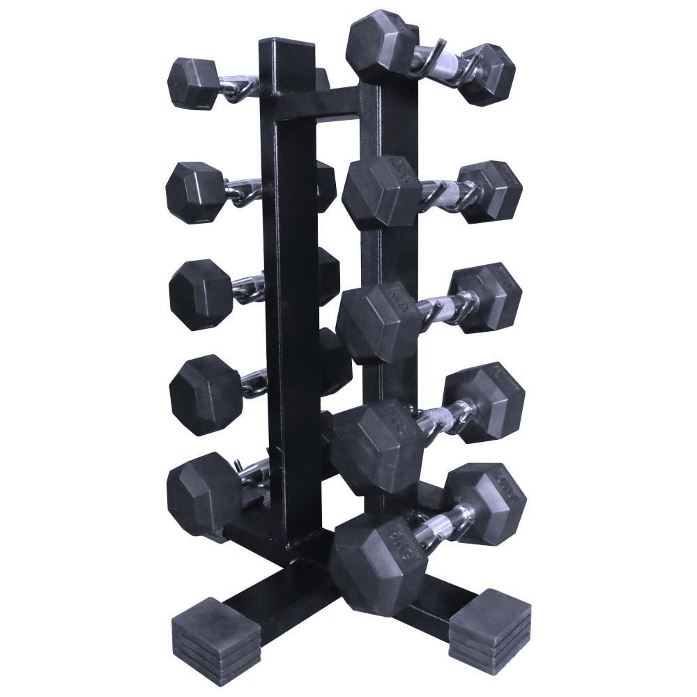 Kit Suporte Torre 10 + Dumbells Sextavados 1kg á 5kg