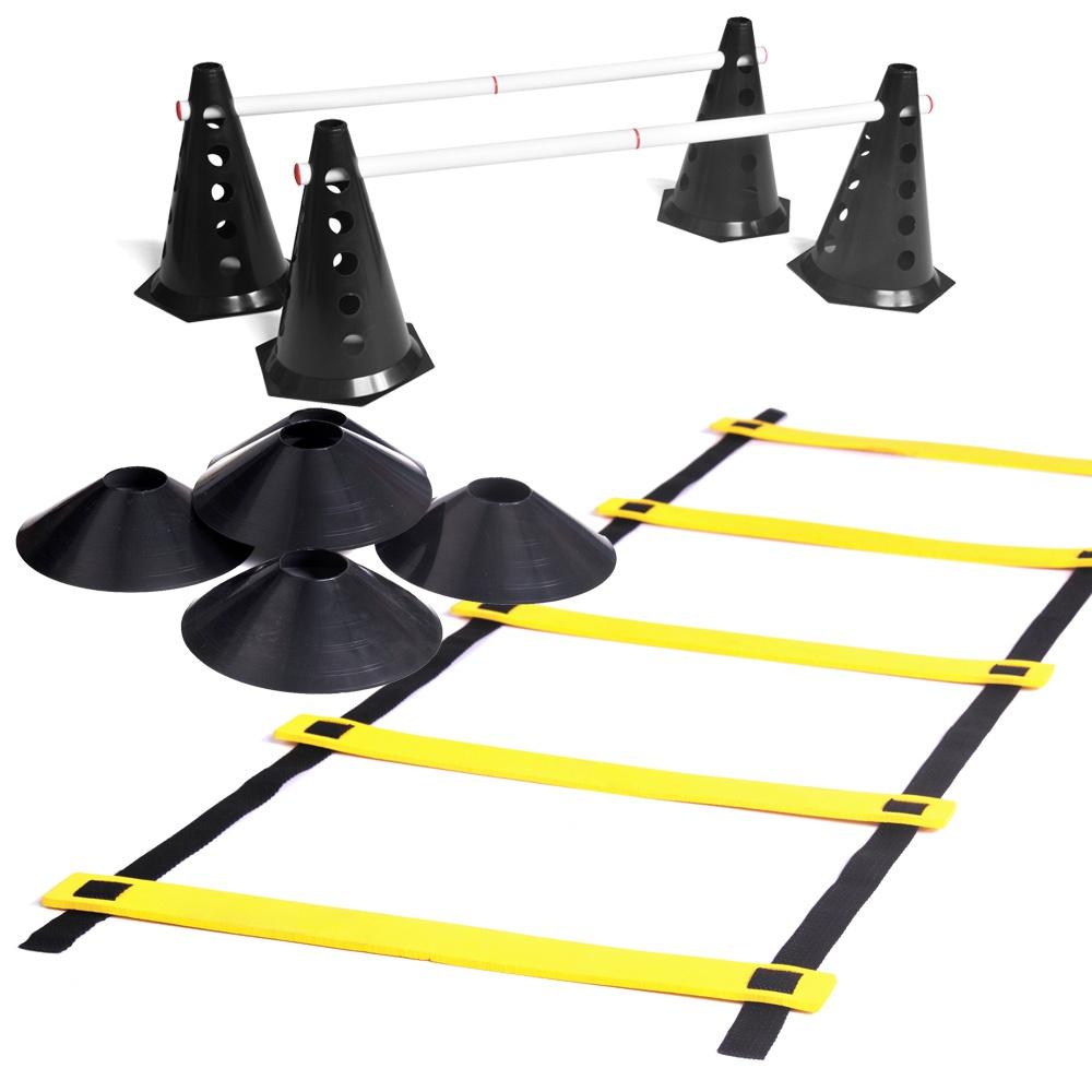 Kit 10 Cones com 5 Barreiras + Escada de Agilidade + 10 Chapéu Chinês Pretos