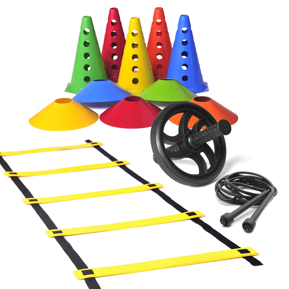 Kit Escada de Agilidade + 10 Chapéu Chinês Coloridos + Roda Abdominal + 10 Cones com Furo Coloridos + Corda Pvc