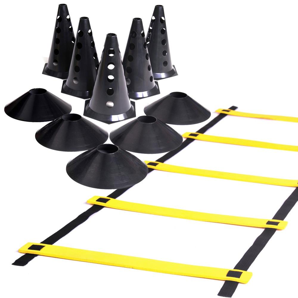 Kit 10 Cones com Furo + Escada de Agilidade + 10 Chapéu Chinês Pretos