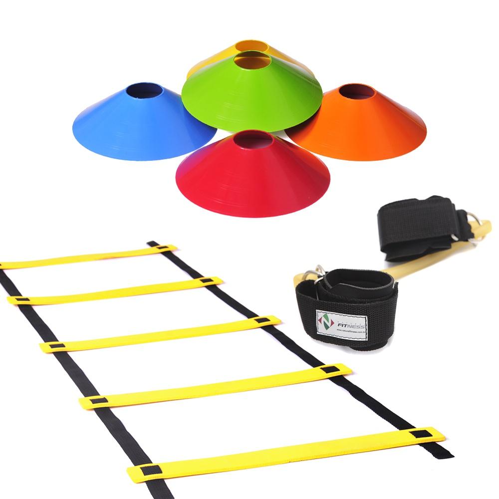 Kit Escada de Agilidade + 10 Chapéu Chinês Colorido+ Elástico Extensor de Perna