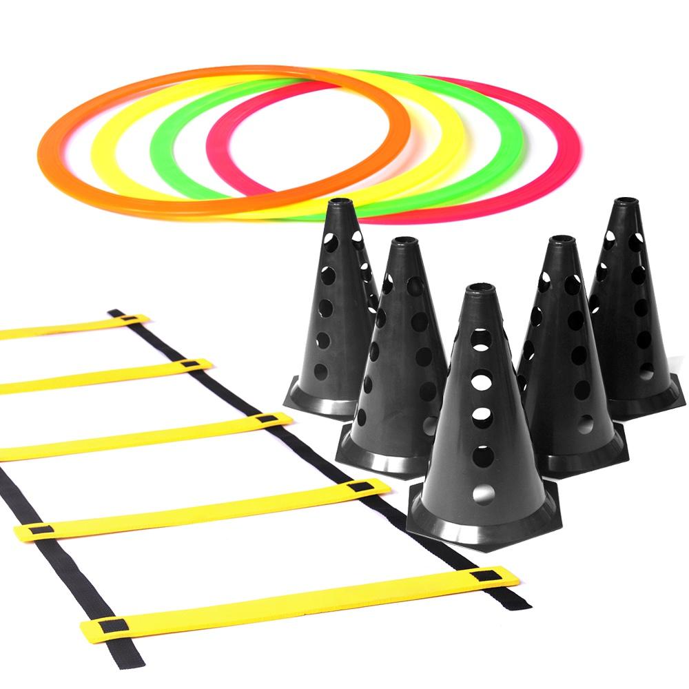 Kit Treino Agilidade - 6 Cones Pretos + 1 Escada + 8 Argolas de Circuito